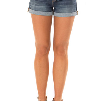 Dark Wash Denim Mid Rise Shorts with Cuffed Hem