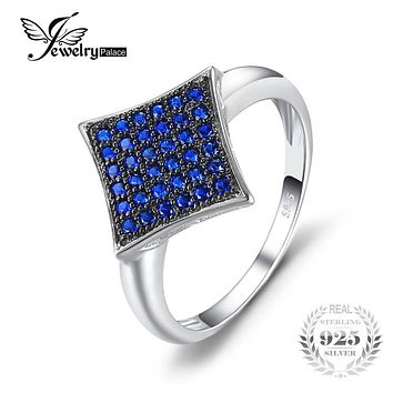 JewelryPalace Fashion 0.35ct Created Blue Spinel Ring S925 Sterling Silver Anniversary Ring For Women Brand Design Fine Jewelry