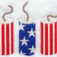 Pair Hand Towels - 4th July Patriotic firecracker - Luxury Cotton