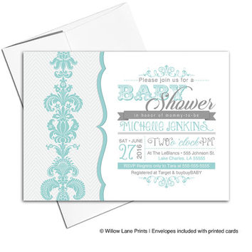 Gender neutral baby shower invitations | mint and gray baby shower invites | printable or printed - WLP00732