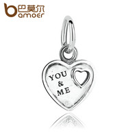 BAMOER Drop Ship Silver Color You & Me Love Heart Charms Pendants Fit Fashion Bracelets Women DIY Accessories PA5316