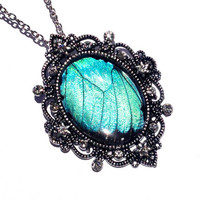 Real Emperor Blue Morpho Wing Necklace, Real Butterfly Jewelry, 1920s style Statement Necklace, Turquoise Pendant