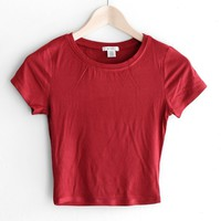 Ribbed Knit Crop Top - Red