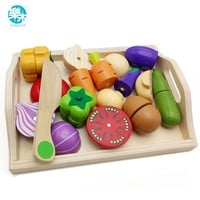 Logwood Baby Wooden toys Pretend Play kitchen toys cutting Fruit and Vegetable education food toys for kid Mother garden childre