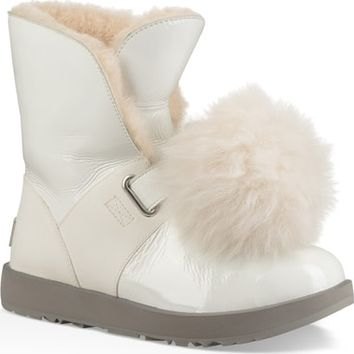 UGG® Isley Genuine Shearling Waterproof Patent Pom Bootie (Women) | Nordstrom