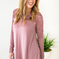 Getting Intricate Lace Detail Mauve Top
