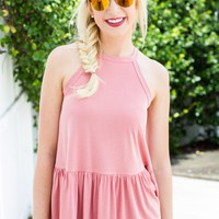 First Love Peplum Tank - Pink