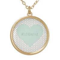Hello Beautiful Heart Round Pendant Necklace