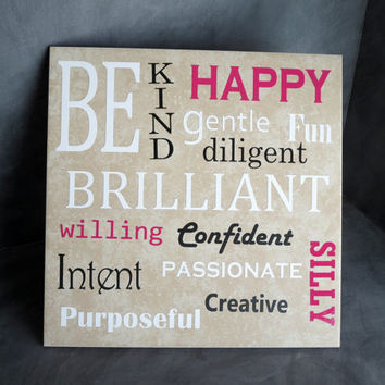 Be Brilliant Tile, Be Happy Tile, Pink and White, Raspberry and Black, Be Silly Decor, Be Kind Sign, Vinyl Decoration, Vinyl Tile Decor 135
