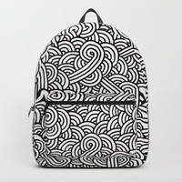 Black and white swirls doodles Backpacks by Savousepate