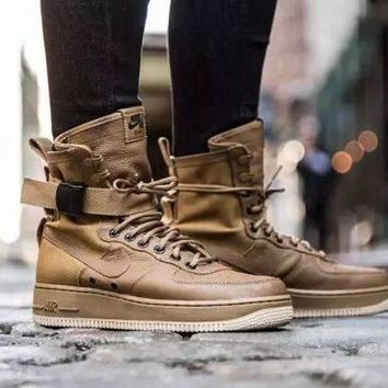 ESBBE6 Nike Air Force 1 High Tops Af1 Brown For Women Men Running Sport Casual Shoes Sneakers