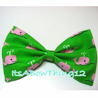 Vineyard Vines Inspired Pink and Green Whale Printed Bow