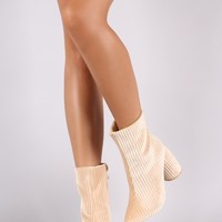 Ridgy Velvet Pointy Toe Curved Cylindrical Heeled Booties