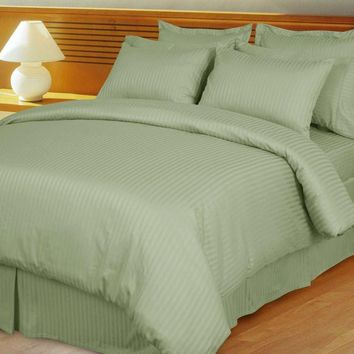 Sage/Green Damask Stripe Down Alternative 4-PC comforter Set 100% Combed cotton 600 Thread count