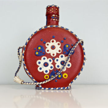 Vintage Folk Art Red Leather Flask, Leather Covered Glass Bottle, Glass Water Bottle, Yugoslavian Serbian Folk Art Souvenir, Shelf Decor