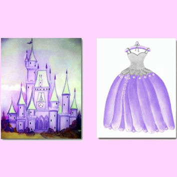 Princess Purple Castle and Dress Prints, Wall Art for Girl Nursery Decor, Kids Art Decor, Girls room Decor, Cinderella Princess