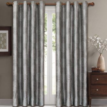 Silver Leington Pair (Two Panels ) Jacquard Grommet Window Curtain Panels
