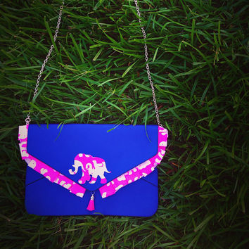 Custom  Lilly Pulitzer Stompin' Around Tusk In Sun Elephant Tassel Envelope Clutch Crossbody Purse