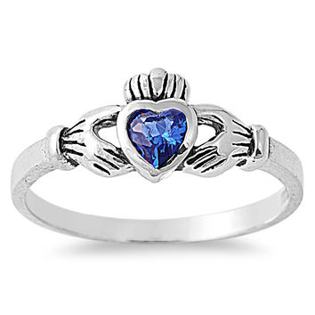 925 Sterling Silver CZ Gift of the Claddagh Simulated Sapphire Ring 7MM