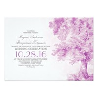 old tree purple watercolor wedding invitations