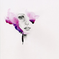 Watercolor Painting of a Women Giclee Art Print Purple Abstract Watercolor Painting Purple Home Decor Beautiful Face Purple Hair Painting