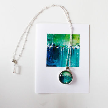 """Clear Morning Light"" Necklace and Card Gift Set"