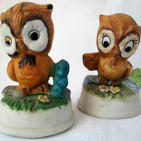 Vintage Owl Friend Figurines Blue Bird and Caterpillar (Set of 2)