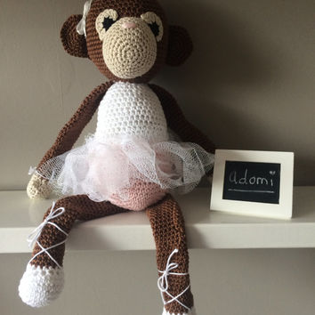 Crocheted Brown Ballerina Monkey With A Dress - Stuffed Animal - Kids Gift - Plush Toy - Room Decoration - Zoe the Monkey