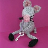 I give you the key to my heart hand knitted Mouse by handmadefuzzy
