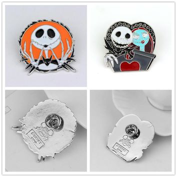 SG Fashion Jewelry Tim Burton's Corpse Bride Brooch The Nightmare Before Christmas Skull Mark Pin Brooches For Man And Women