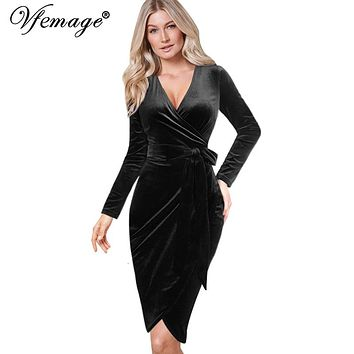 Vfemage Womens Autumn Winter Elegant Sexy V Neck Belted Long Sleeve Work Business Party Bodycon Pencil Sheath Wrap Dress 8440