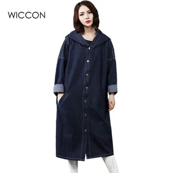 Women Long Denim Coat 2017 Spring  Fashion BF Style Long Sleeve Hooded Jacket Autumn Loose Ladies Jeans Coat