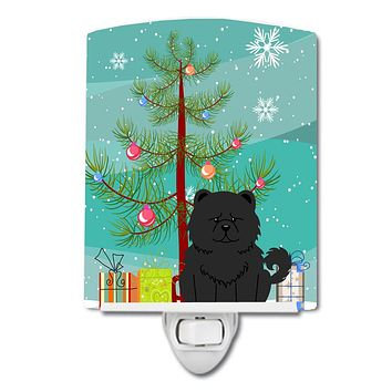 Merry Christmas Tree Chow Chow Black Ceramic Night Light BB4268CNL