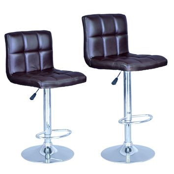 Brown Modern Adjustable Synthetic Leather Swivel Bar Stools Chairs B06-Sets of 2