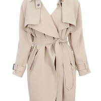 Beige Lapel Waisted Trench Coat With Belt - Choies.com