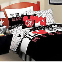 Mickey Mouse Bed Sheet Set Love Bedding Accessories: Full