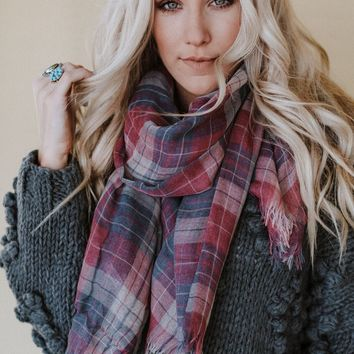 Emerson Fringed Plaid Bandana Scarf