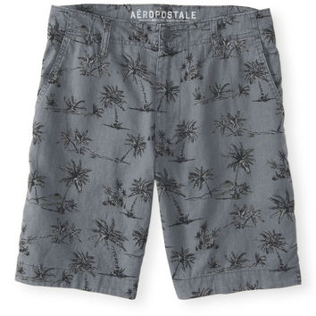 Palm Tree Flat-Front Shorts