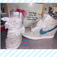 Custom White Pearl and Rhinestone Wedding Nike Dunks