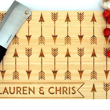 Personalized Cutting Board (Pictured in Natural), approx. 12 x 16 in. Arrows Pattern Name Banner - Wedding gift, Housewarming gift