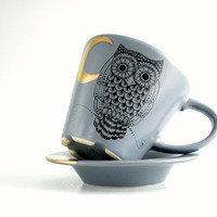 owl golden crescent grey tea/coffee cup and saucer , hand painted