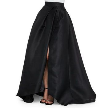 Sexy Black Satin Long Skirts New Design Side Split Chic Invisible Zipper Floor Length Skirts Fashion Women Maxi Saia