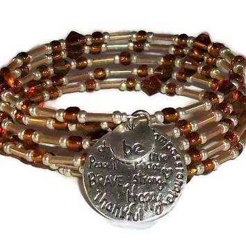 Plus Size Elegance Inspirational Amber & Champagne Glass Beaded Silver Artisan Crafted Wrap Bracelet (M-XL)