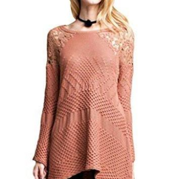 Easel Women's Bell Sleeve Boat Neck Sweater with Crochet Lace Detail