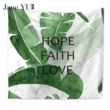JaneYU Tropical plants Geometric Green Leaves Tapestry Wall Hanging Tapestries Bedspread Yoga Mat Blanket Bed Table Cloth