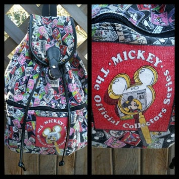"""Vintage MICKEY MOUSE backpack all over print """"Official Collectors Series"""" 1990's. Rare Mickey Mouse."""