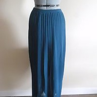 Sparkle & Fade Pleated Chiffon Maxi Skirt Size 4 Teal Blue Green Retail $59