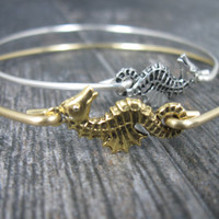 Bangle Bracelet, Gold Seahorse, Seahorse Bracelet, Gold Bracelet, Bangle Bracelet, Bracelet, Seahorse Jewelry, Bangle, For Her