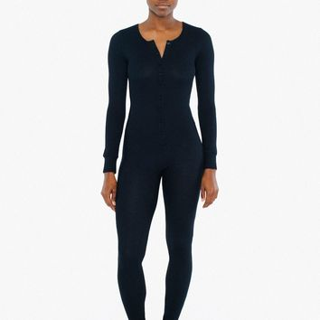Thermal Henley Long Sleeve Catsuit   American Apparel