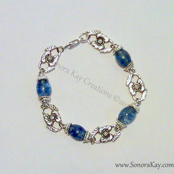 Blueberry Quartz Bracelet with Silver Roses  can
